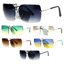 SA106 Womens Rectangular Rimless Double Frame Designer Sunglasses - $12.95
