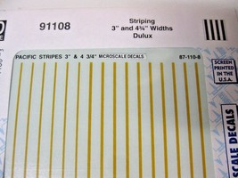 """Microscale Decals Stock #91108 Striping 3"""" and 4 3/4""""  Widths Dulux image 1"""