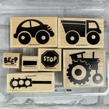 Stampin Up Wood Mounted Stamp Set of 7 By Land Car Truck Tractor  - $14.60
