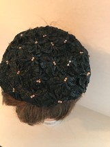 Womens Black Straw with Pink Beads Summer Hat SMALL  - $24.99
