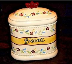 Biscotti Cookie Jar with Lid AA18-1256  Hand Made for Nonni's Vintage image 4