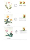 4 Fdc Usa 1991 Tulips Usa United States Orange Yellow Pink Red Masterpieces 482 - $9.90
