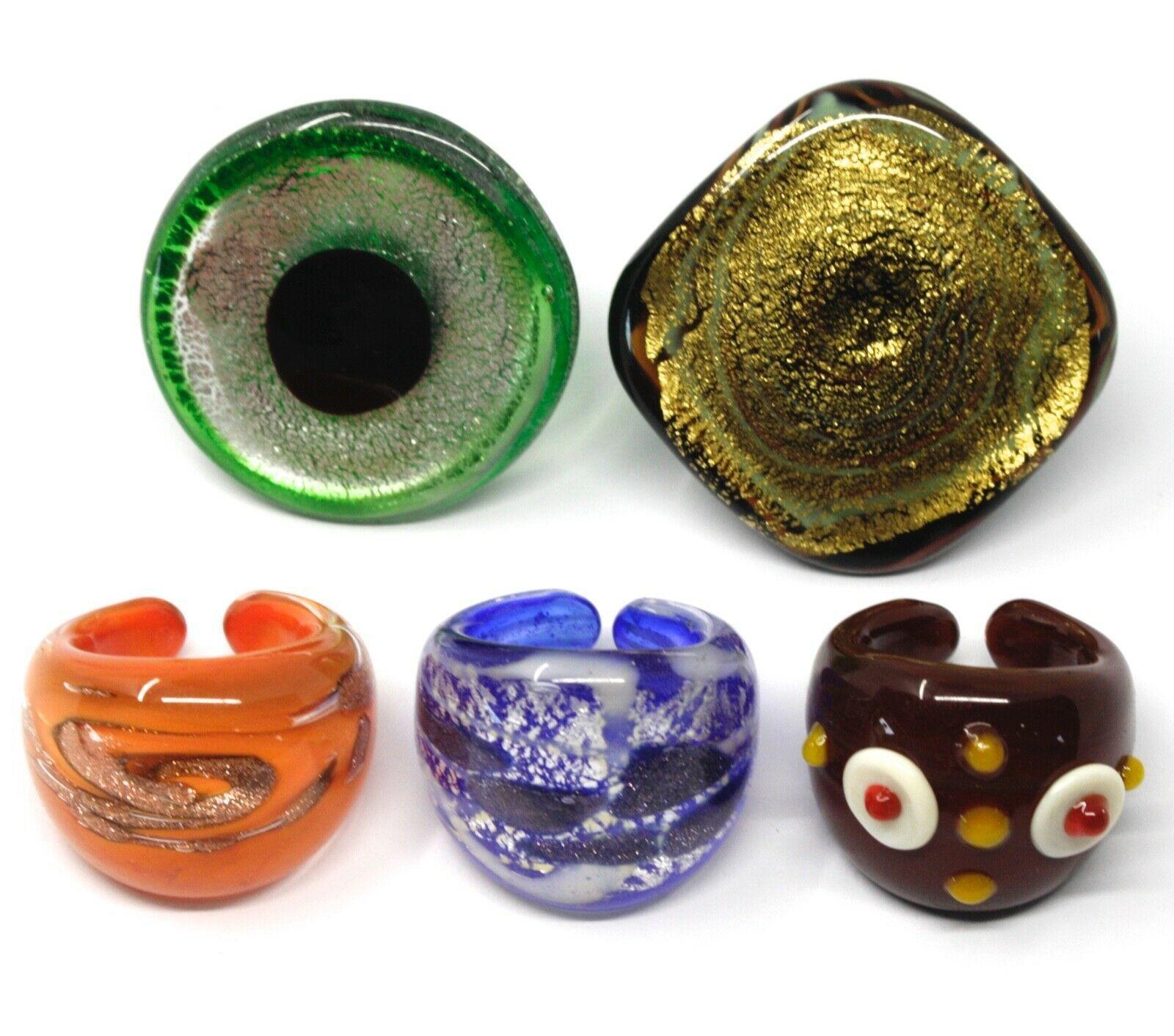 LOT OF 5 ANTICA MURRINA VENEZIA RINGS, MURANO GLASS, SIZE 5