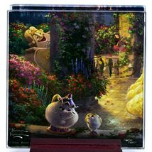 Thomas Kinkade Disney's Beauty and the Beast Prints 4 Pc Fused Glass Coaster Set image 4