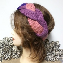 Pink Tri-Color Twist Braid Crochet Knit Headband - $5.00