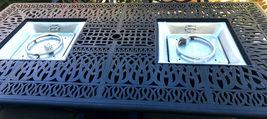Fire Pit Propane Table 7 Piece Set Cast Aluminum Outdoor Patio Furniture   image 4