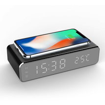 Electric LED 12/24H Alarm Clock With Phone Wireless Charger Table Digita... - $26.50