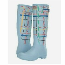 Women's Blue Hunter Original Tall Rock Tartan Rain Boots, sz 7 - $124.70