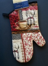 COFFEE TEA OVEN MITT French Cafe Bistro Black Red Cup NEW - $3.99