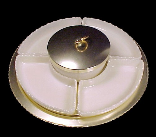 71165a fire king anchor hocking glass ivory white lazy susan turn table gold aluminum