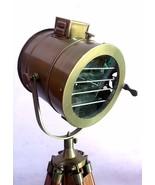 Vintage Copper Floor Lamp E 27 Searchlight Wooden Tripod Nautical Spot L... - $109.21