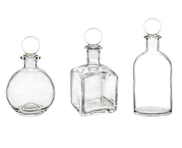 Clear Glass Bottle Set with Round Glass Stopper. Ideal for Essential Oil... - $27.99