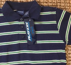 Boys Blue Polo Shirt Size L 14 16 by Players Express Collection Navy Striped  - $14.57
