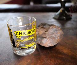 Vintage DRINKING GLASS mid century CHICAGO land... - $14.50