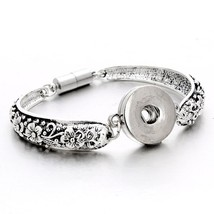 Silver Snap Bracelet Bangles 18mm Snap Buttons Jewelry 10 Designs Flower... - $14.98