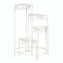 Plant Stands With Shelves, Four Tier White Iron Decorative Plant Stands - $72.41