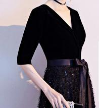 Women Half Sleeve Velvet Maxi Dress High Waist Formal Dress, Black, Plus Size image 8