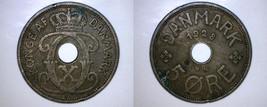 1928 N-GJ Danish 5 Ore World Coin - Denmark - $9.99