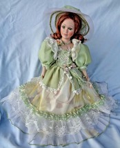 Cathay Porcelain Doll Collection 275-5000 Lime Green Dress Accent Pearls... - $26.00