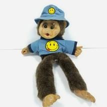 Hosung Plush Monkey Vintage Puppet Brown Chimp Chimpanzee Blue Hat Happy... - $24.74