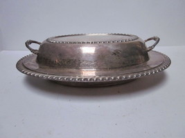 VINTAGE #553 SILVER PLATED LARGE OVAL ENGLISH STYLE DIVIDED SERVING BOWL - $9.99
