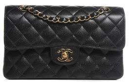 BRAND NEW AUTHENTIC CHANEL 2017 BLACK CAVIAR SMALL DOUBLE FLAP BAG GHW RARE