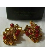 "Vintage AVON Ring In The Holidays Clip Earrings 1.3/4"" Long - $18.99"