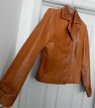 Co-op for Women Leather Jacket Coat Blazer Hand Crafted Embroidered Tan ... - $69.25