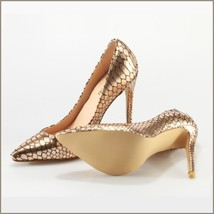 Metallic Gold Patent Leather Pointed Toe Embossed Snake Skin Stiletto Heels  image 4