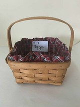 "1993 Longaberger Basket 7"" x 7"" x 3 1/2"" with fabric liner - $12.00"