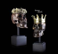 Skull Sculpture,Brass Skull Female&Male Skull Sculpture,Roses~Crown/ Pro... - $285.00