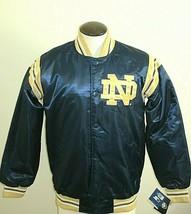 Mens Notre Dame Fighting Irish Starter Classic Satin Snap Front Jacket Blue Gold - $80.99