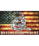 "5"" don't tread on me snake logo on vintage american flag sticker decal u... - $16.14"