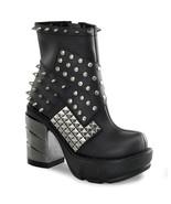 "DEMONIA Sinister-64 3 1/2"" Heel ankle-high boot - Black Vegan Leather - $99.95"