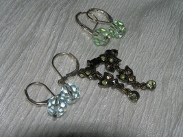 Estate Lot of 3 Simple Blue & Light Green Faceted Bead Dainty Yellow Rhi... - $6.97