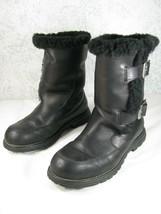 UGG Boots Buckle 5418 Larkspur Black Leather Sheepskin Biker Motorcycle ... - $58.95