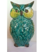Large Ceramic Owl Blues and Greens Handmade Studio Pottery - $39.00