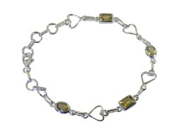 bewitching Citrine 925 Solid Sterling Silver Yellow Bracelet Natural ind... - $22.76