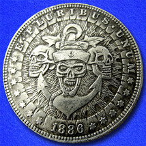 "3 Sailor Skulls ""Hobo Nickel"" on Morgan Dollar Coin ** - $4.49"