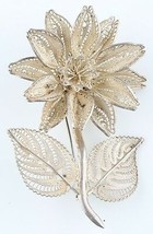 Vintage Sterling Silver Large Filigree Flower Brooch Made in Mexico - $62.34
