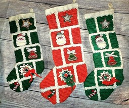 3 Vintage Square Crochet Embellished Sequins Christmas Stocking Green Re... - $29.70