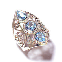 TRIPLE BLUE TOPAZ 925 Sterling Silver Ring Size 7.5 Free Shipping  - £12.64 GBP