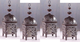 Four (4) all metal floral cutout brown moroccan deck table candleholder ... - $26.00