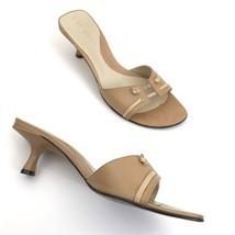 Nine West Women Size 6.5 Kitten Heels Tank Open Toe Sandal Slip On Shoes - $17.81