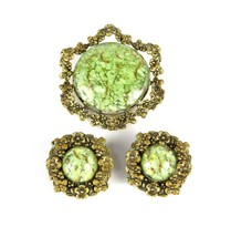 Costume Fashion Victorian Crushed Green w/ Gold Flake Brooch Pin & Earri... - $52.88