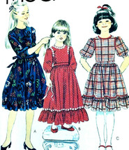 Vintage Sewing Pattern Girls Dress 1970s Size 8 Bust 27 Prairie Ruffle P... - $7.83