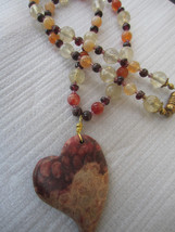 Healing Gemstone jewelry!  Handcrafted Nipomo coral fossl Gemstone necklace - $45.00