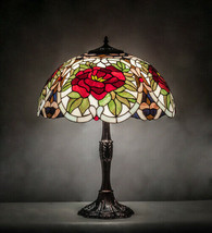 Tiffany Style Stained Glass Table Lamp Bronze Finished Base With Rose Lamp Shade - $1,173.15