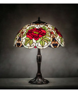 Tiffany Style Stained Glass Table Lamp Bronze Finished Base With Rose La... - $1,173.15
