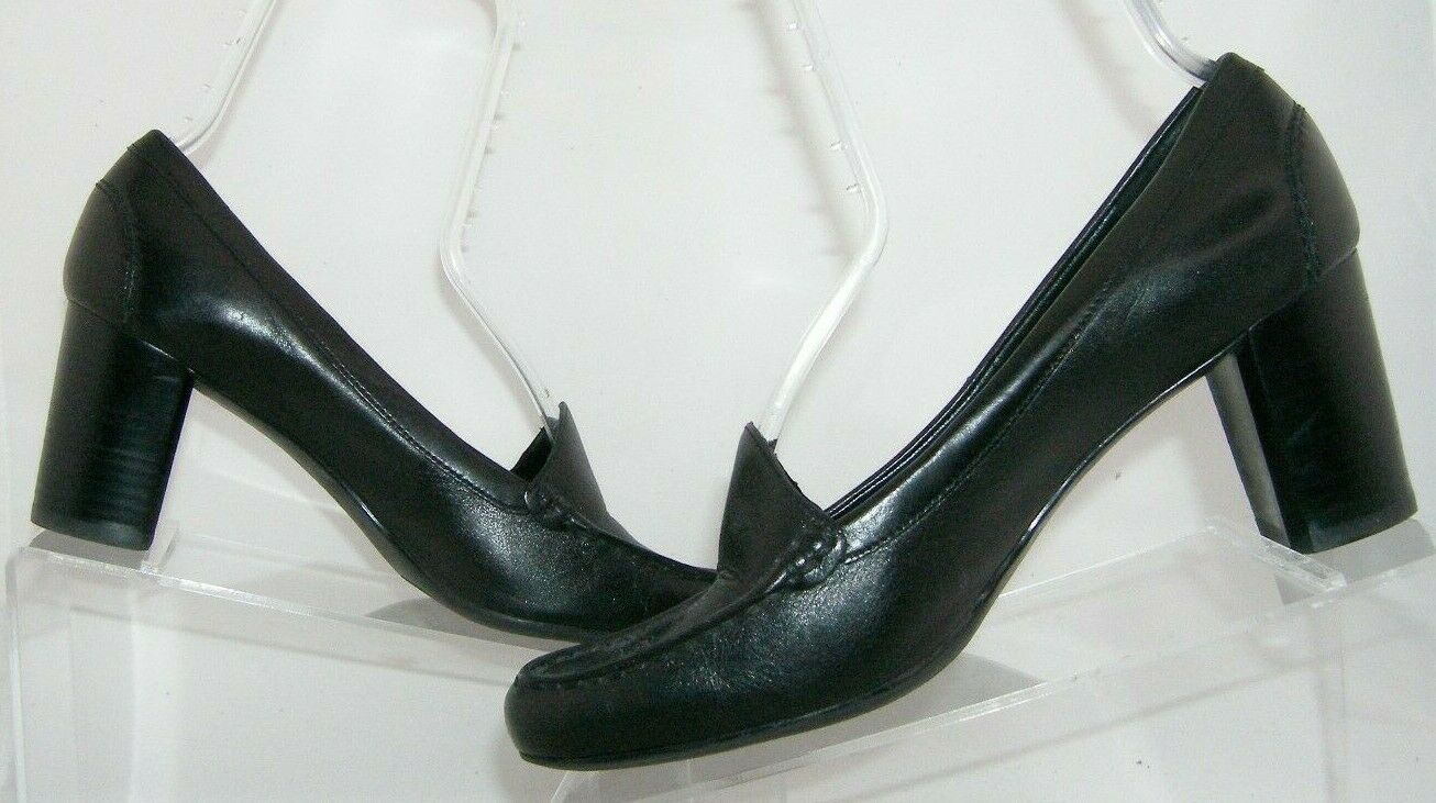 Franco Sarto 'Nation' black leather round toe slip on loafer stacked heels 8M image 3